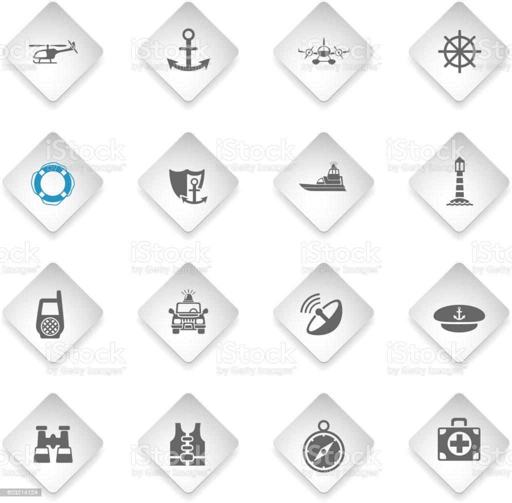 coastguard icon set vector art illustration