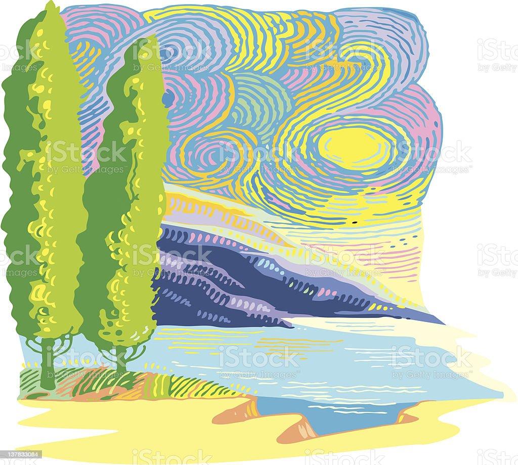coastline landscape royalty-free stock vector art