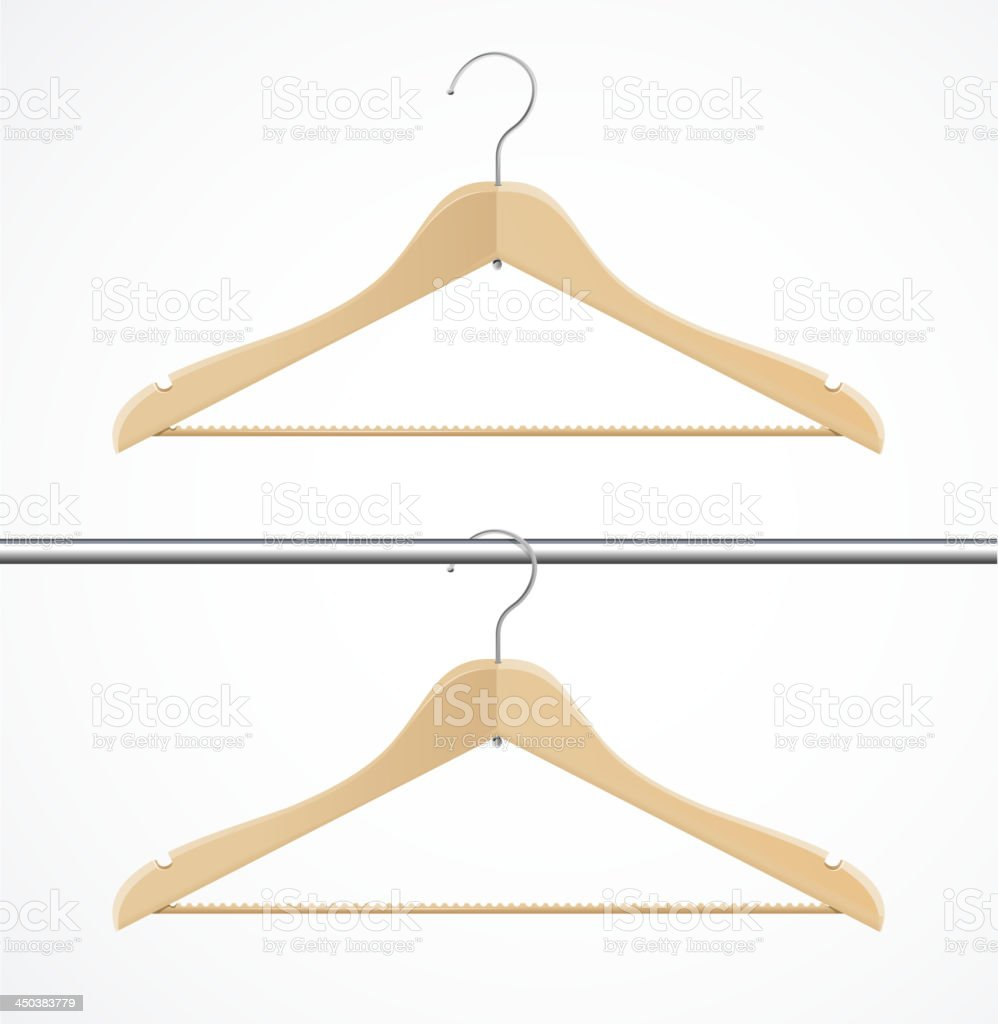 Coat hanger wood isolated on white. royalty-free stock vector art