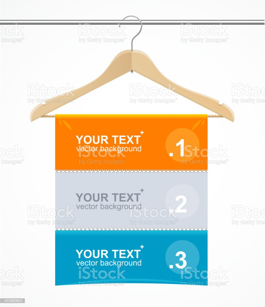 Coat hanger wood like text headers. royalty-free stock vector art