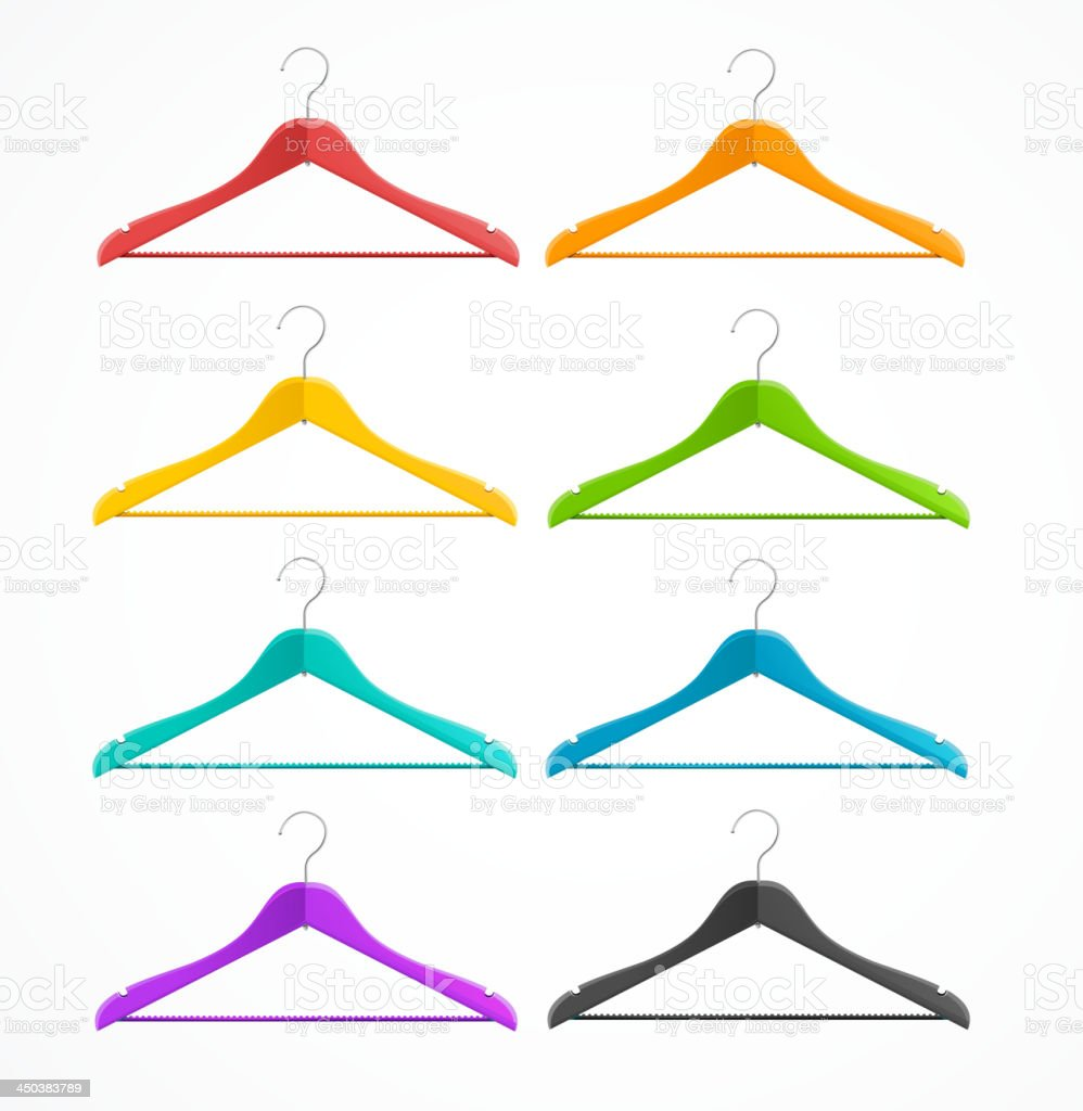 Coat hanger wood set isolated on white. Rainbow. royalty-free stock vector art