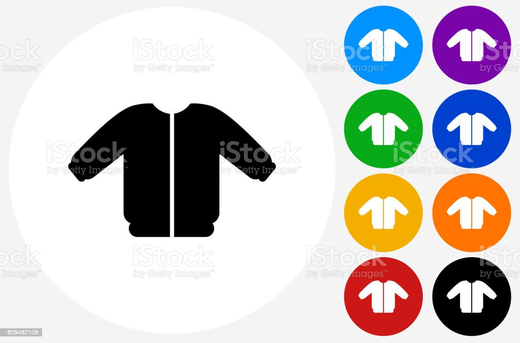 Coat Icon on Flat Color Circle Buttons vector art illustration