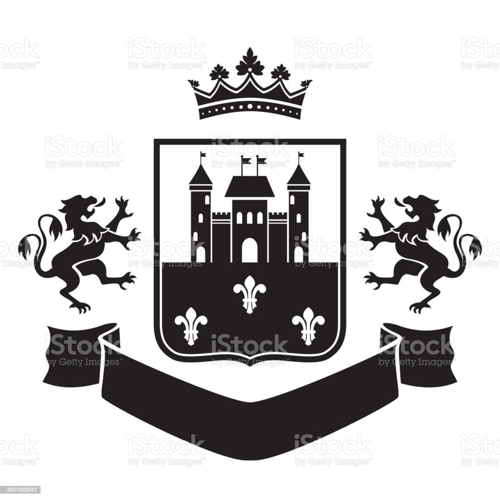 Coat of arms - fortress and two standing lions vector art illustration