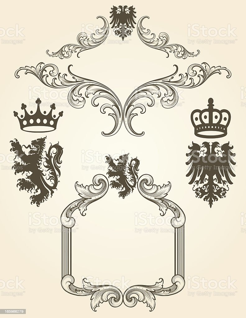 Coat Of Arms Frame Set royalty-free stock vector art