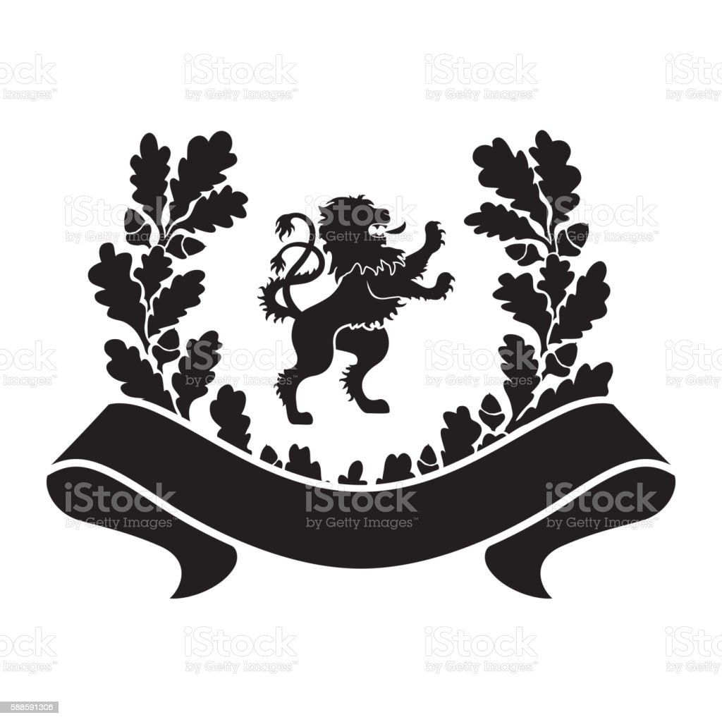 Coat of arms - shield with lion vector art illustration