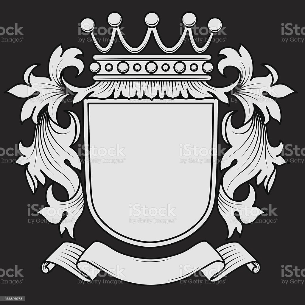 Coat of Arms with Mantling vector art illustration