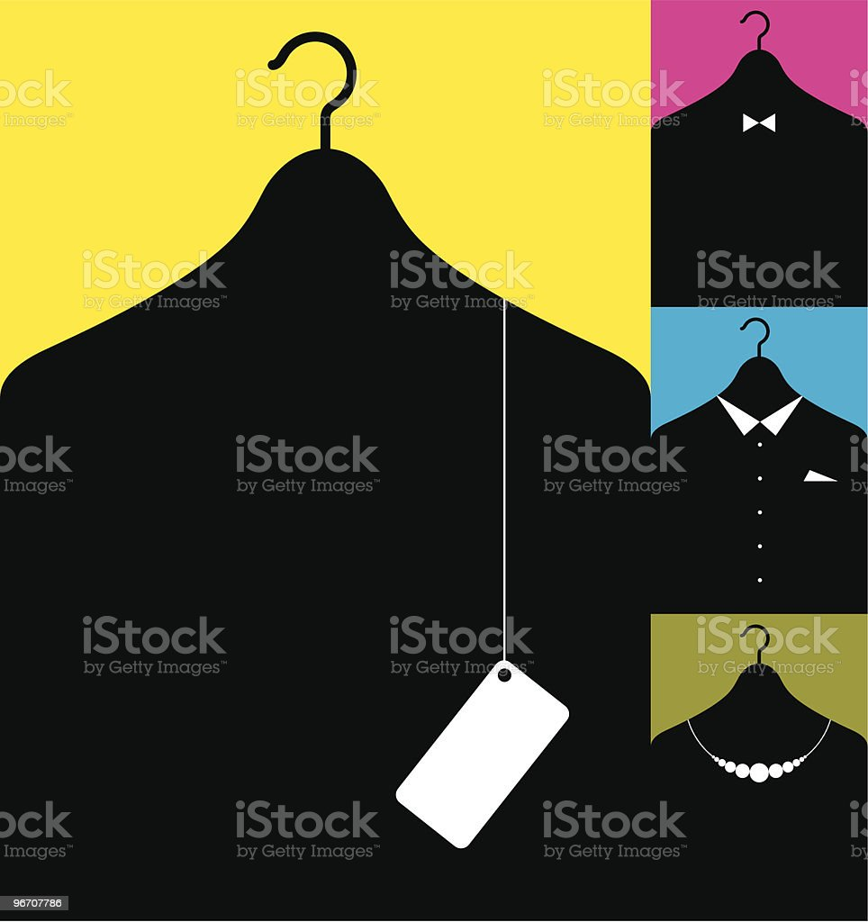 coat-hanger with clothes royalty-free stock vector art