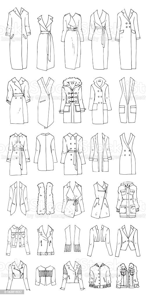 Coats and jackets vector art illustration