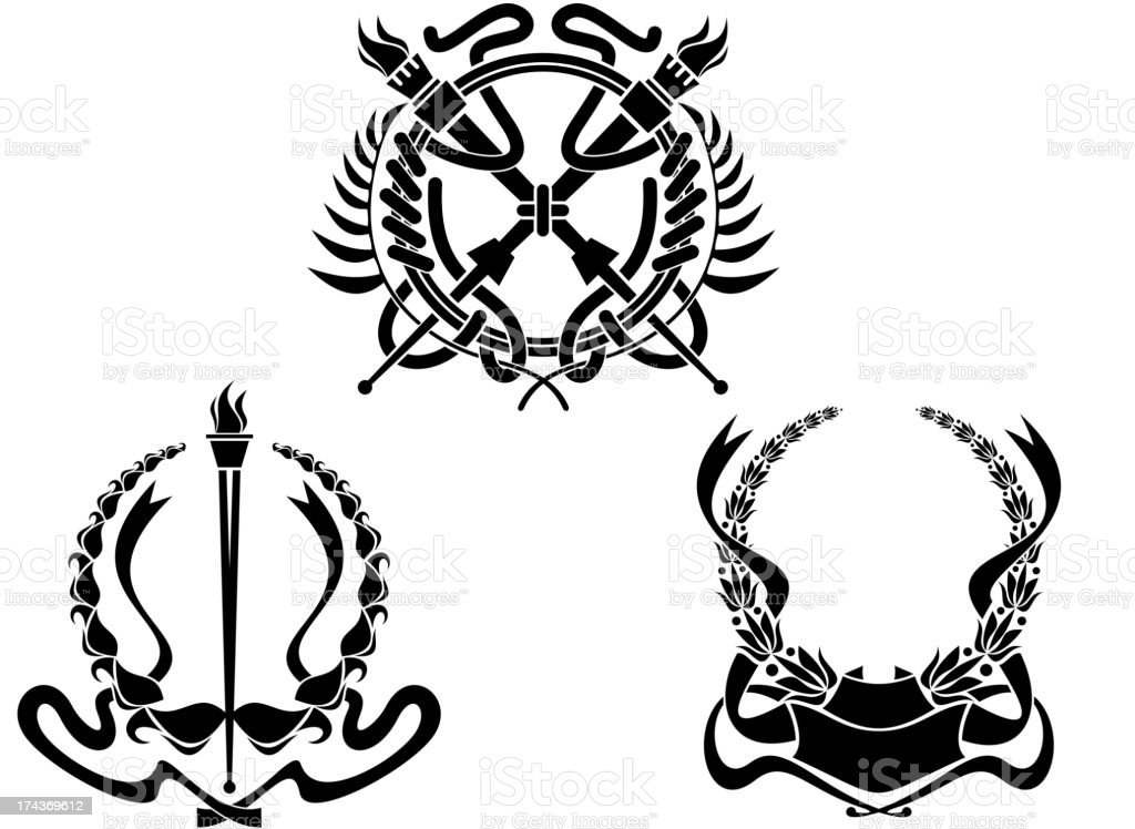 Coats of arms with heraldic elements royalty-free stock vector art