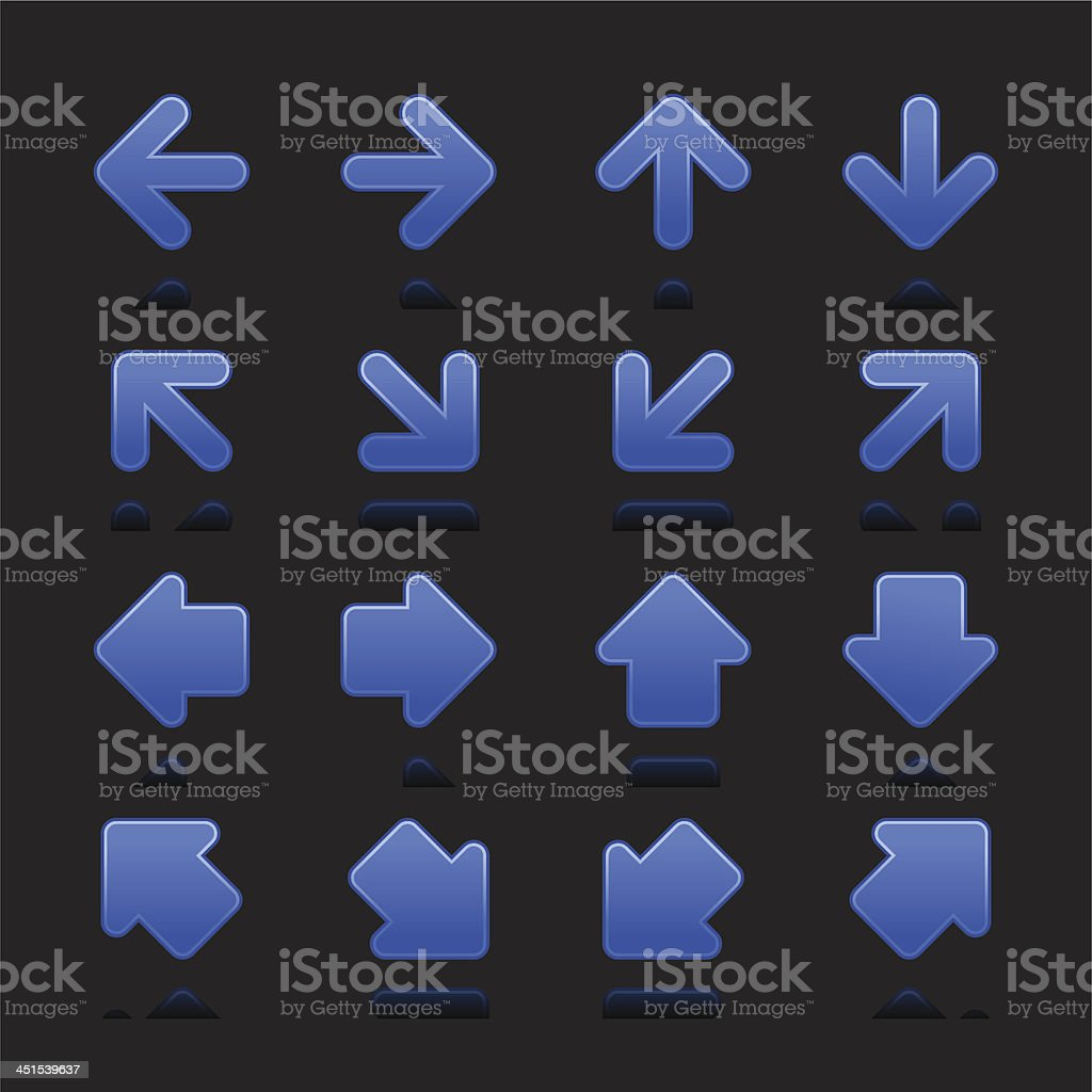 Cobalt arrow sign navigation button direction icon black background royalty-free stock vector art