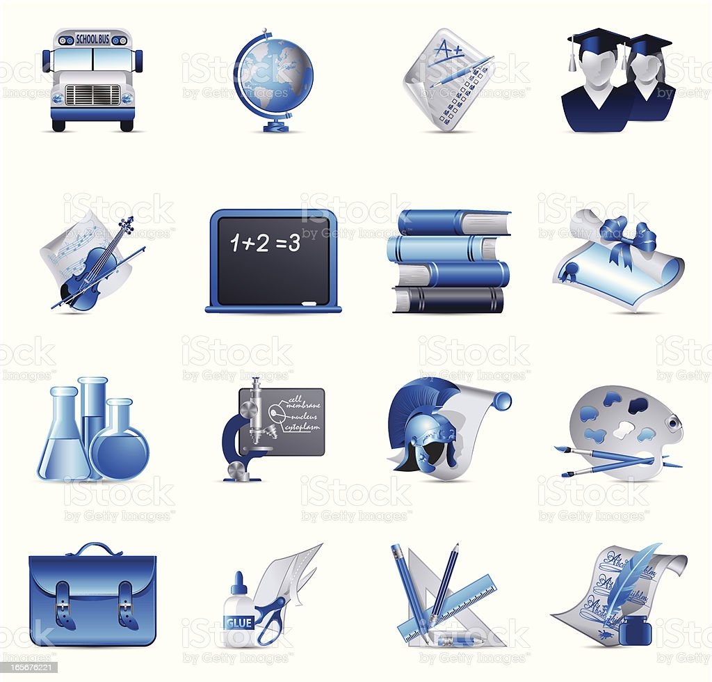 Cobalt Blue set - Education vector art illustration