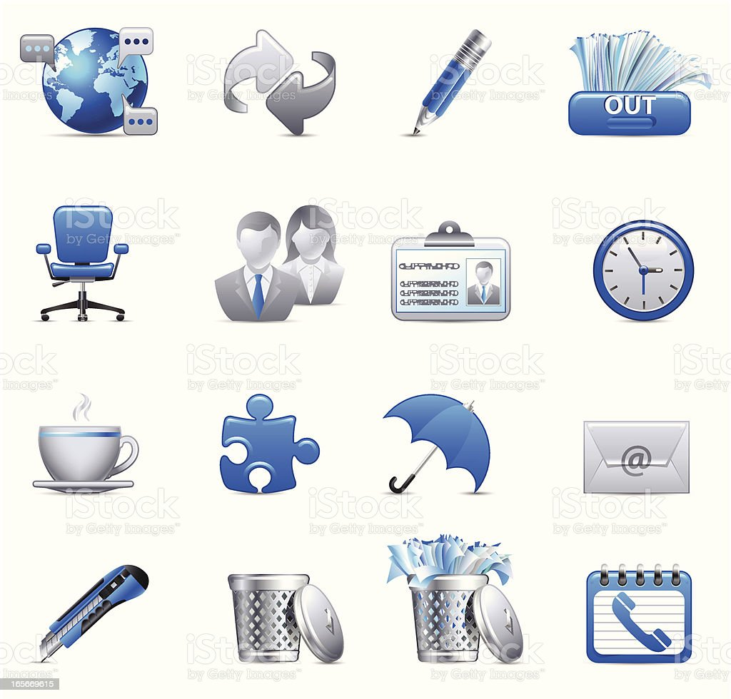 Cobalt Blue set - Office royalty-free stock vector art