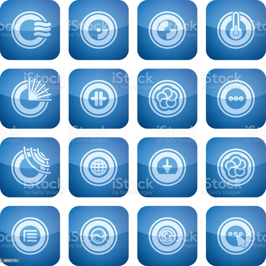 Cobalt Square 2D Icons Set: Abstract royalty-free stock vector art