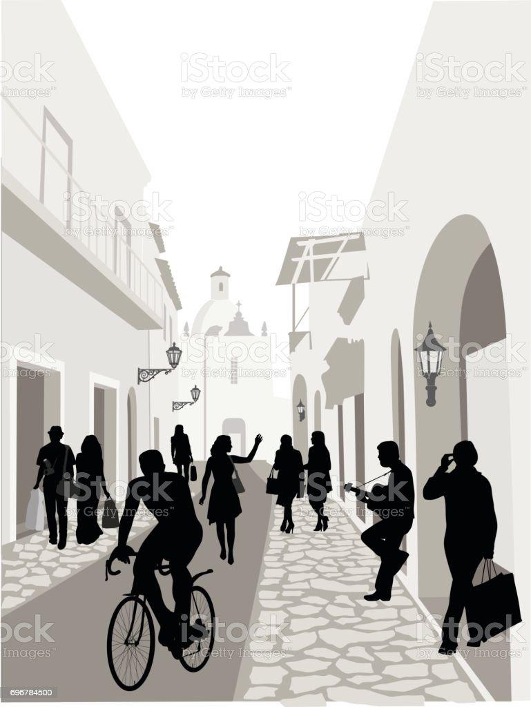 Cobblestone Alley vector art illustration