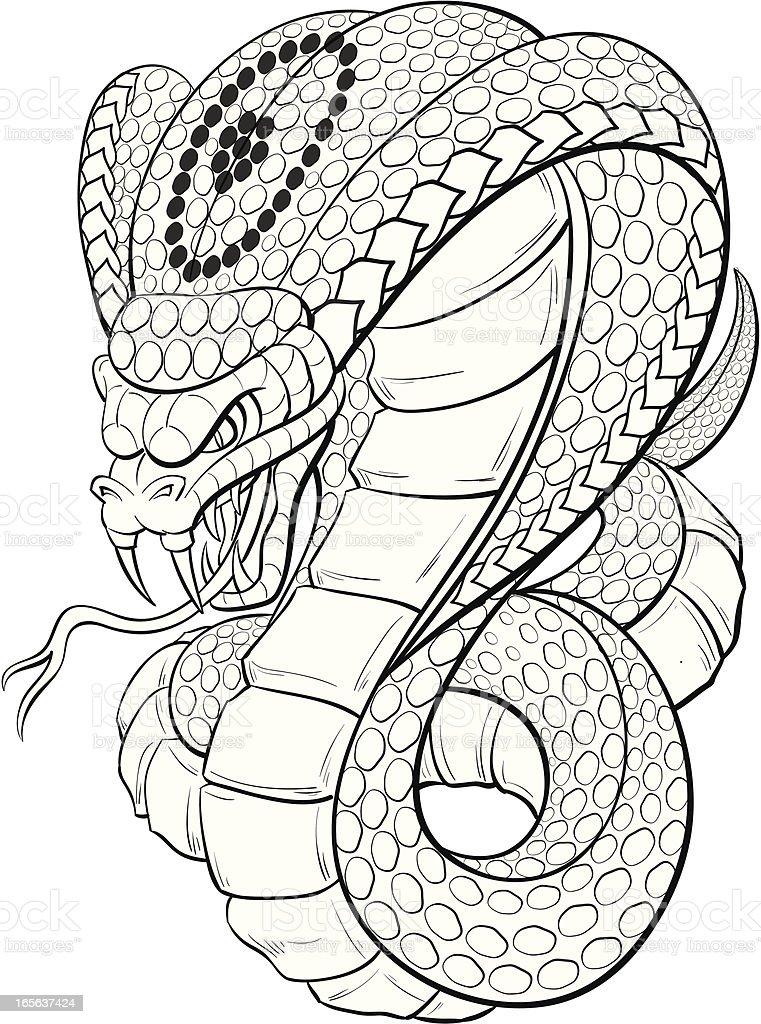 cobra black and white vector art illustration