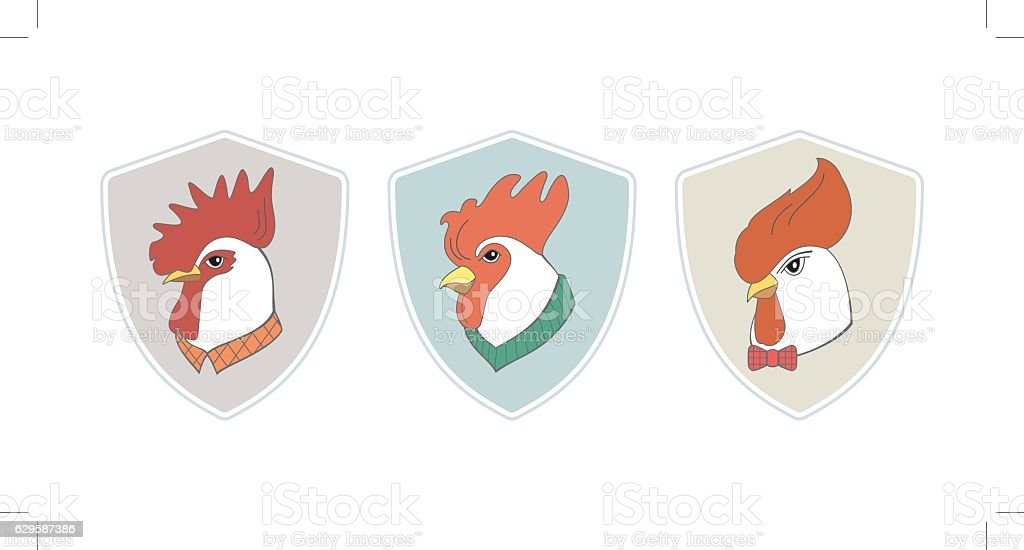 Cock hipster logotype set vector art illustration