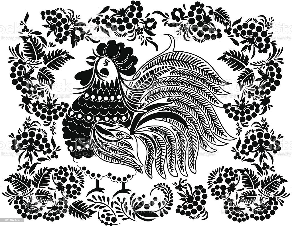 Cock in the flowers and bunches of berries royalty-free stock vector art