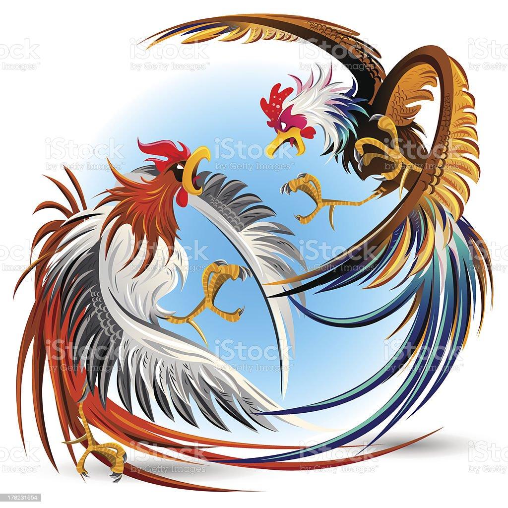 Cockfight Fighting Cocks vector art illustration