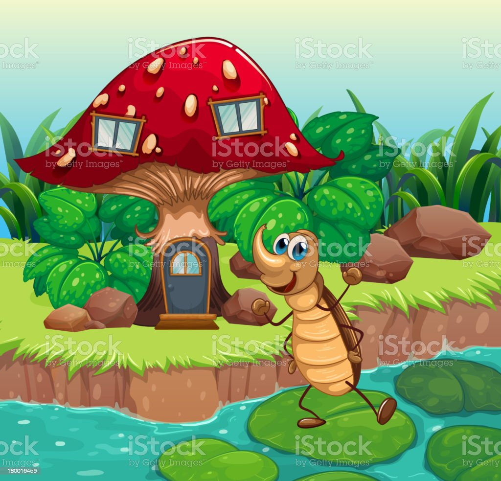 Cockroach dancing in front of a mushroom house royalty-free stock vector art