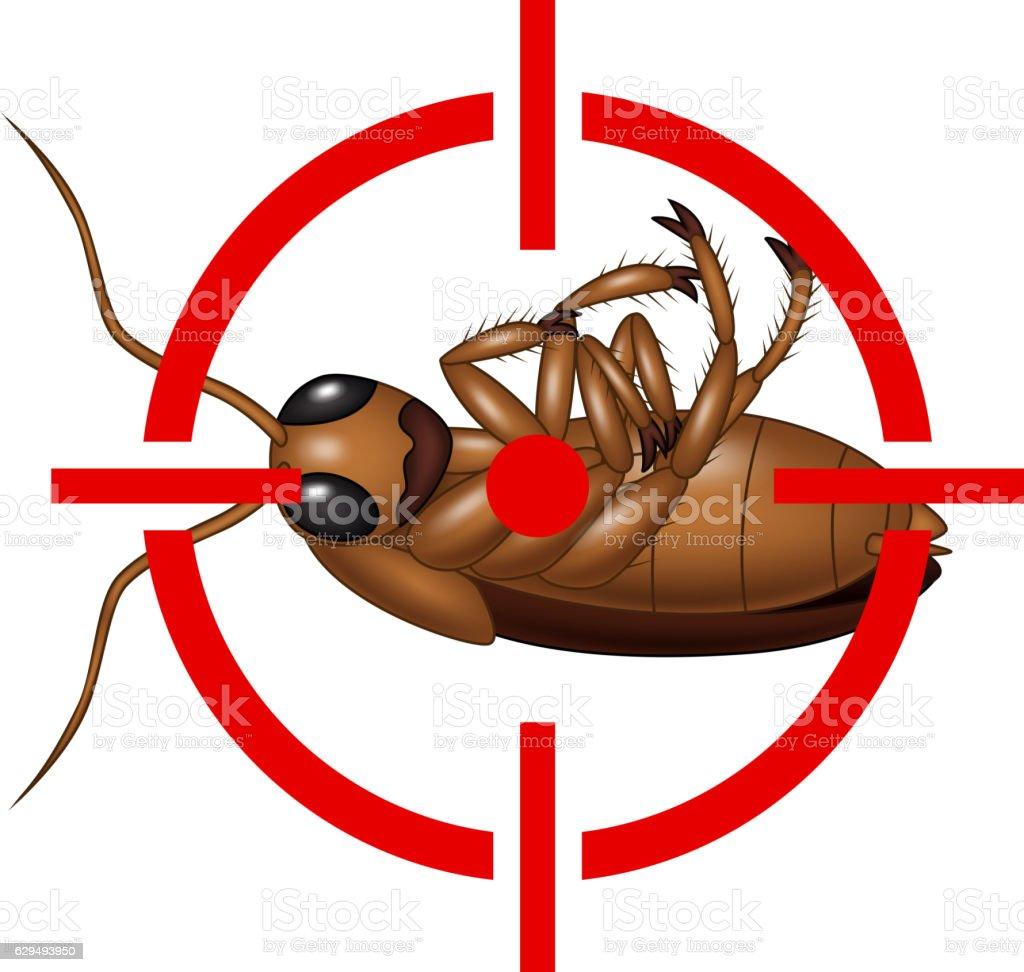 Cockroach on Target Icon vector art illustration