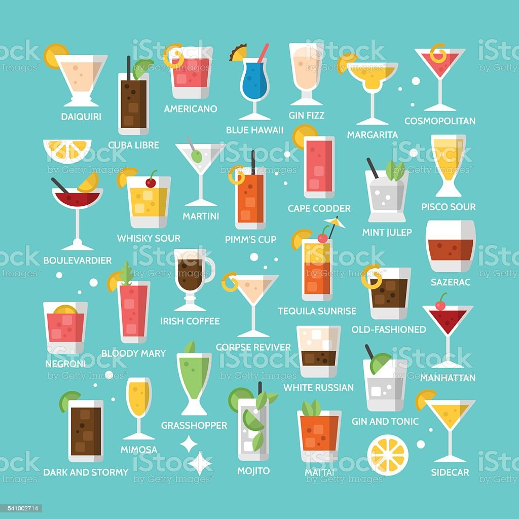 Cocktail alcohol mixed drink icons for menu, web and graphic vector art illustration