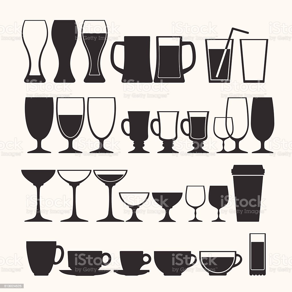 Cocktail and alcoholic glass vector set vector art illustration