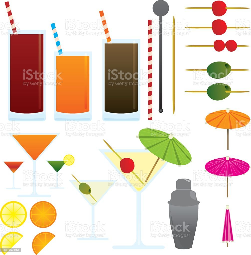 Cocktail and drinks icon set vector art illustration