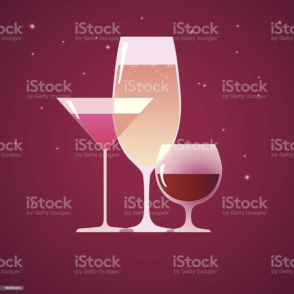 Cocktail, brandy and wine royalty-free stock vector art