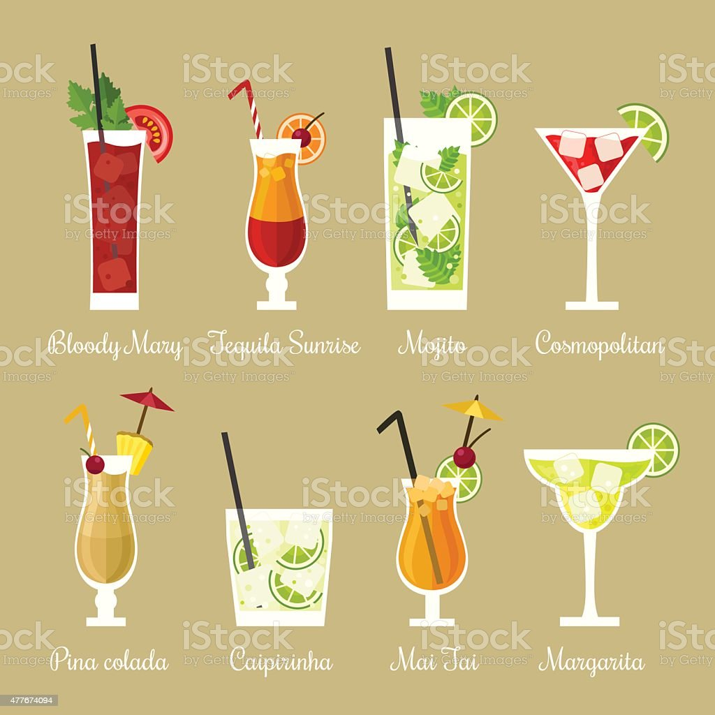 Cocktail collection vector art illustration