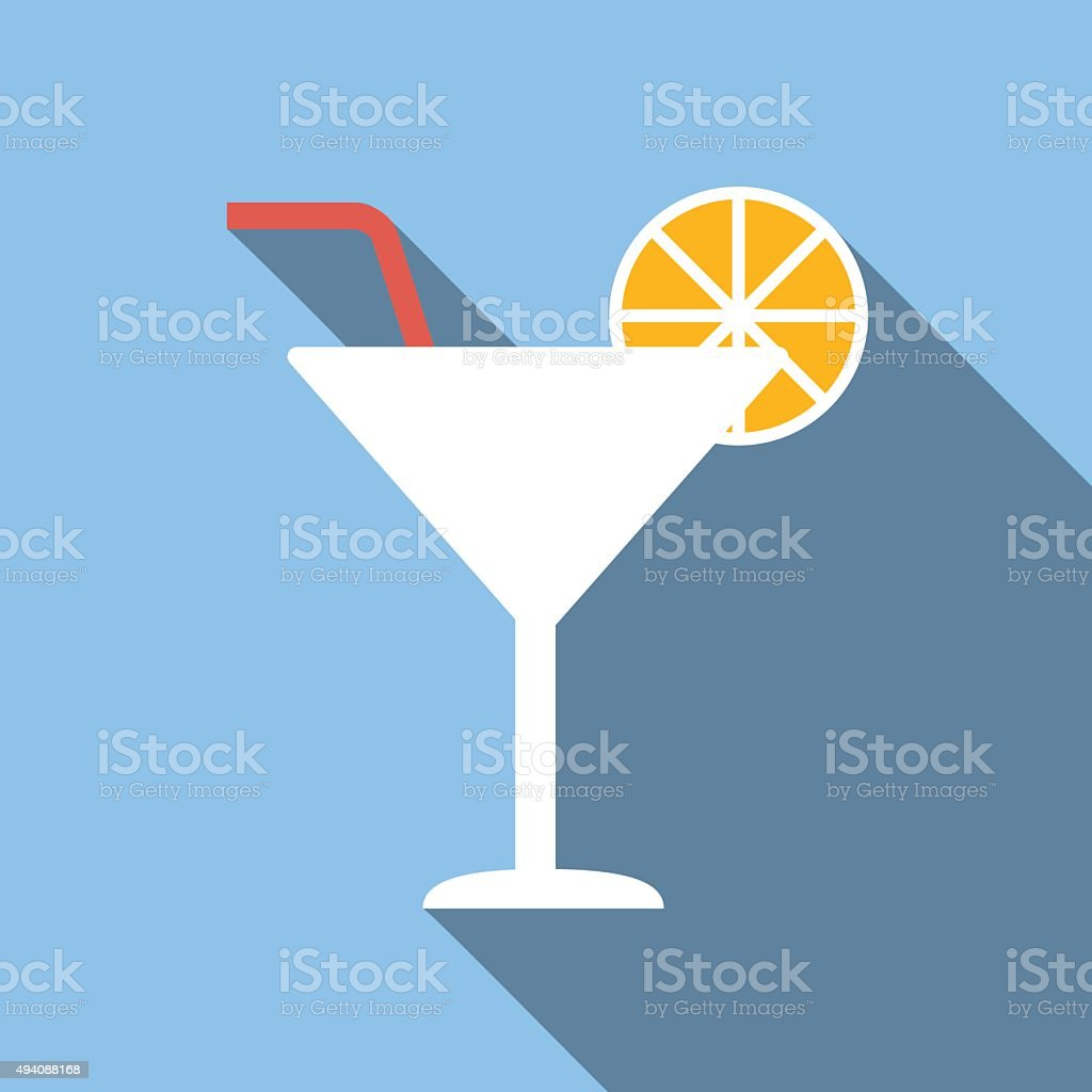 Cocktail colored flat icon vector art illustration