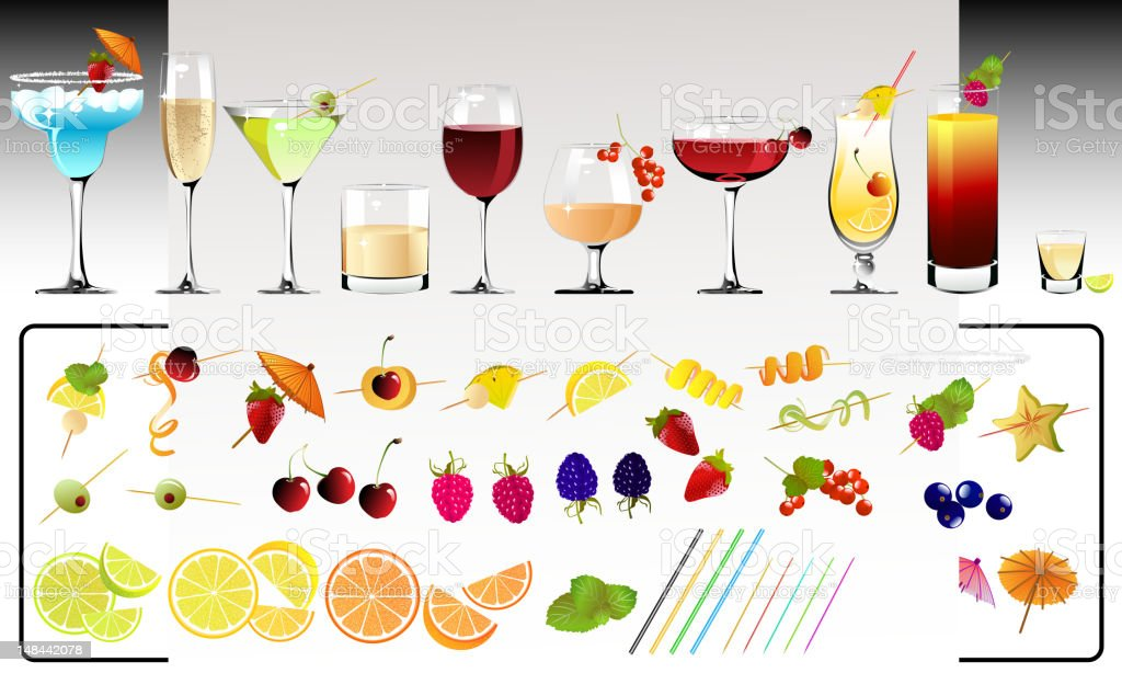 Cocktail Drinks with Variety of Garnishes vector art illustration