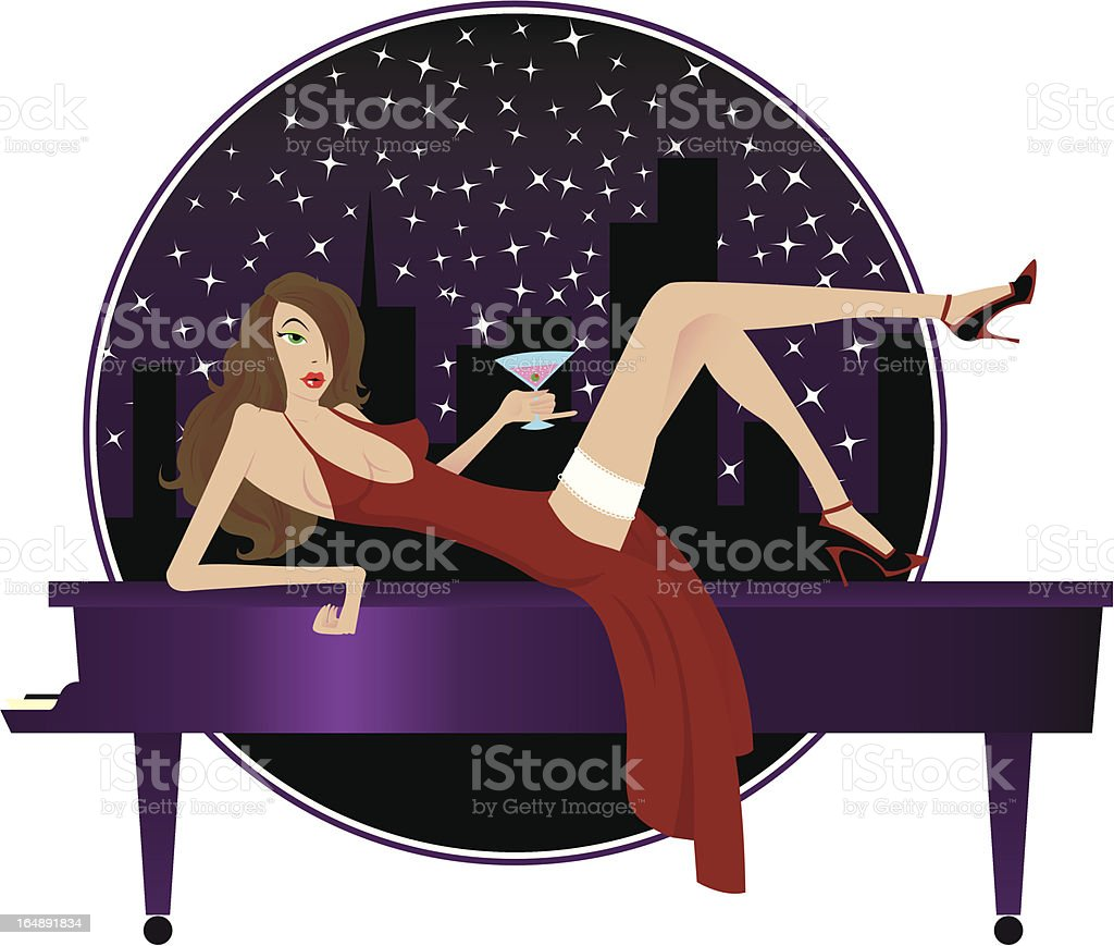 Cocktail Girl royalty-free stock vector art