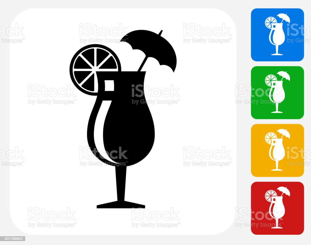 Cocktail Glass Icon Flat Graphic Design vector art illustration