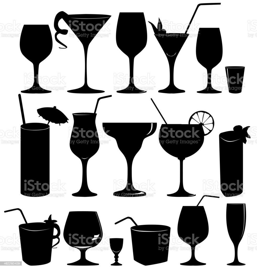 Cocktail glass silhouette set. vector art illustration