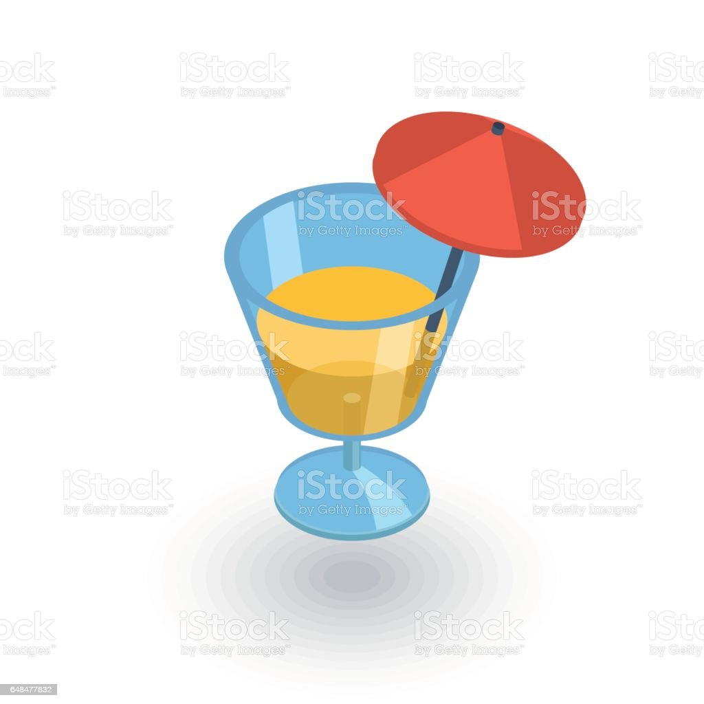 cocktail glass whith umbrella, juice drink isometric flat icon. 3d vector vector art illustration