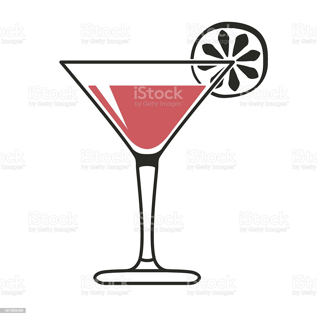 Cocktail glass with lime slice vector art illustration