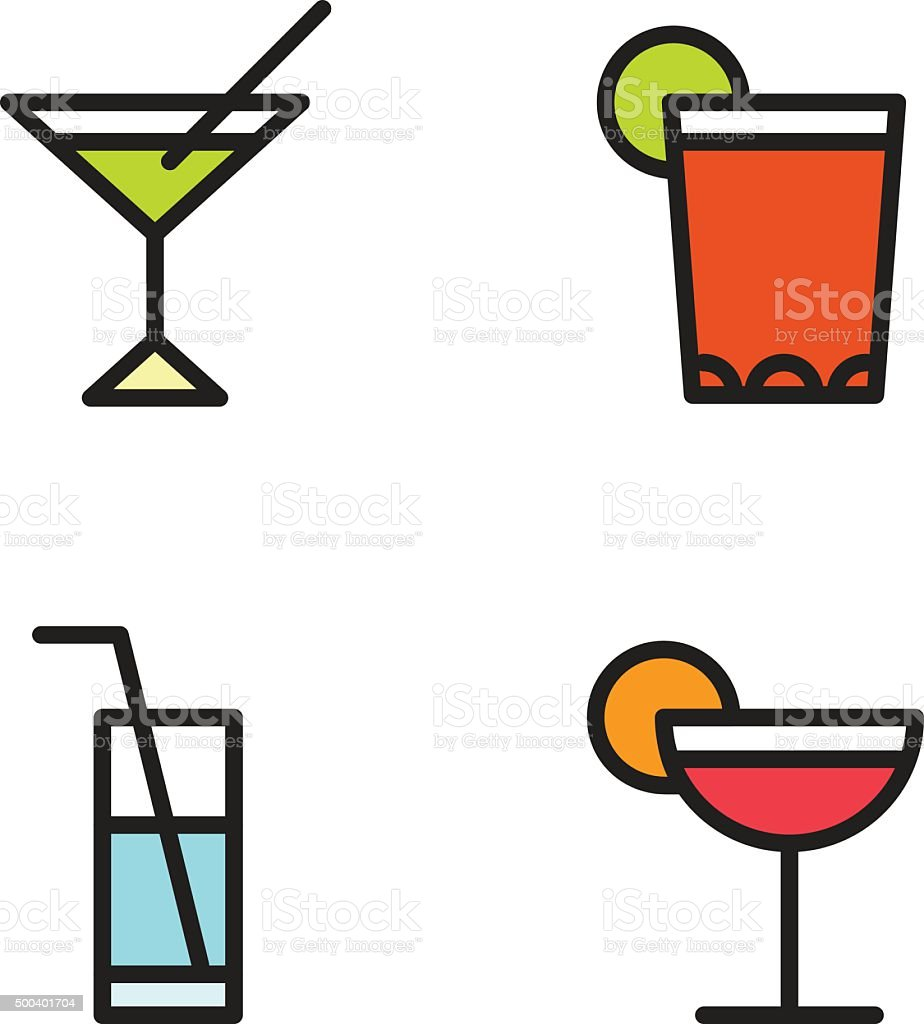 Cocktail Glasses Icon Set with jumbo straws vector art illustration