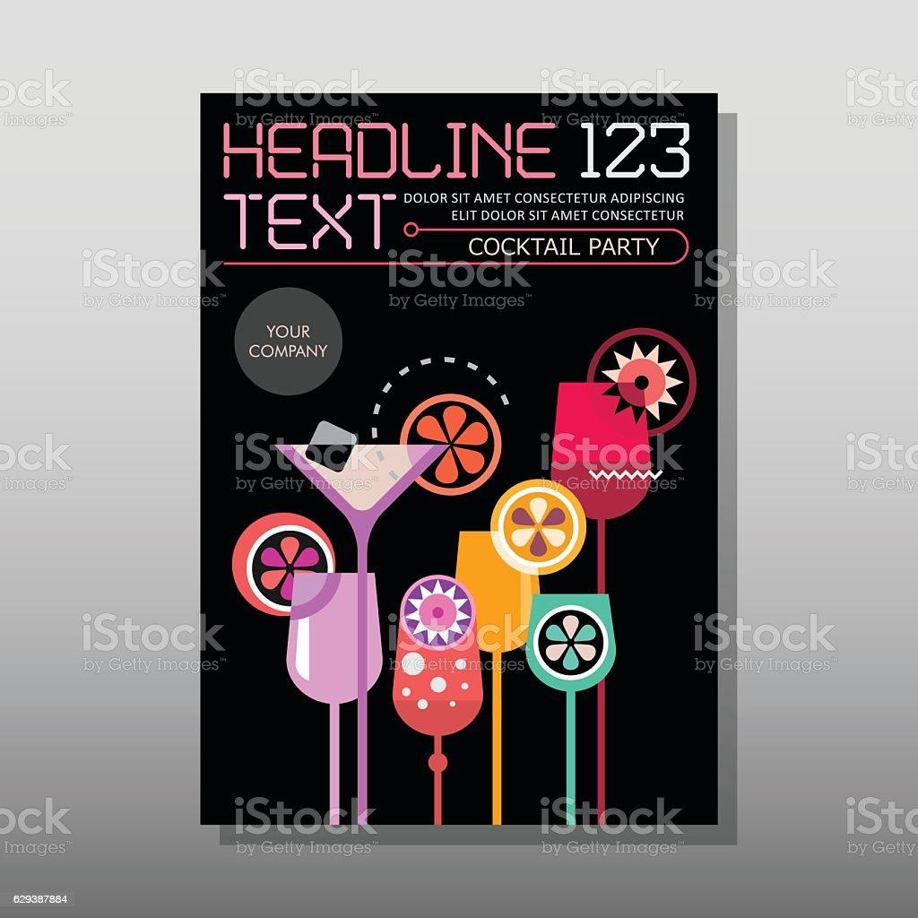 Cocktail glasses, magazine template vector art illustration