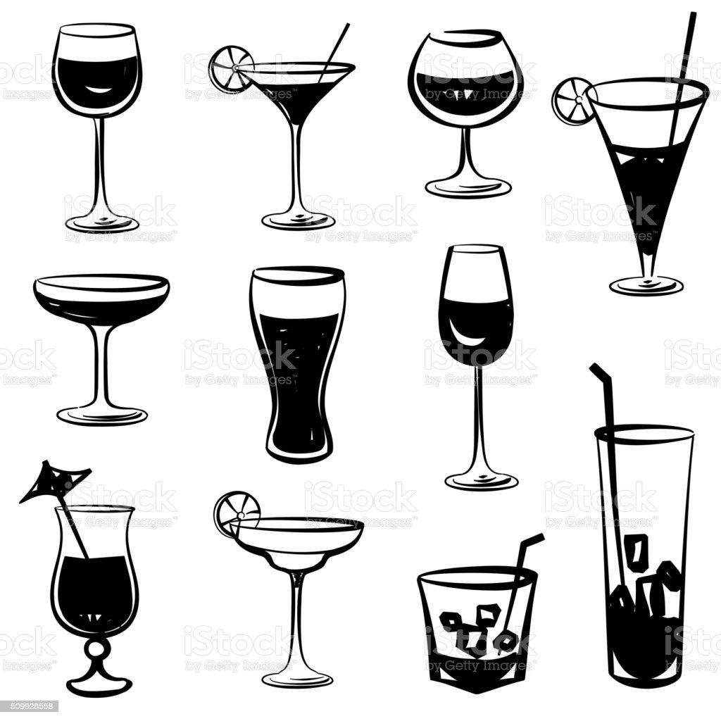 Cocktail glasses set. Black and white engraved party symbols vector art illustration
