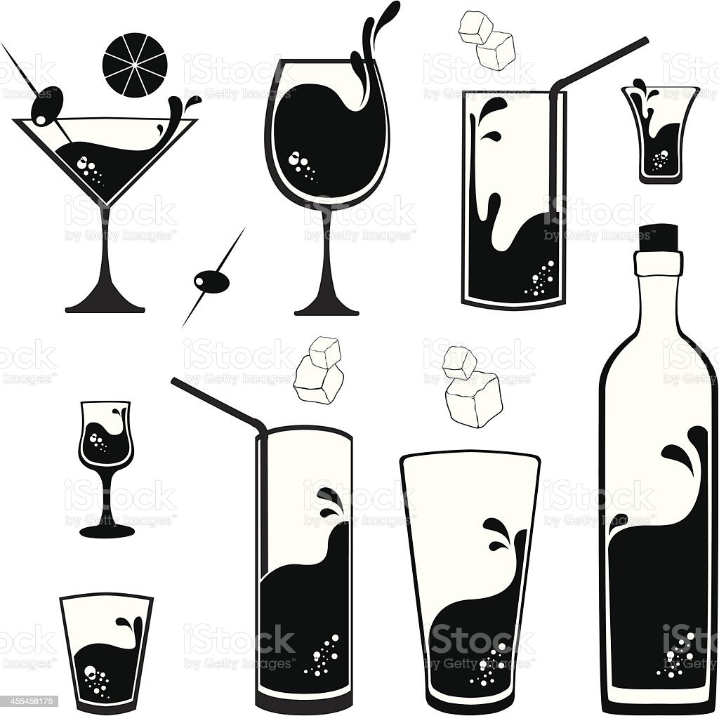 Cocktail glasses vector art illustration