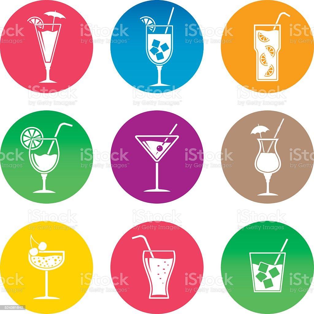 Cocktail icon set vector art illustration