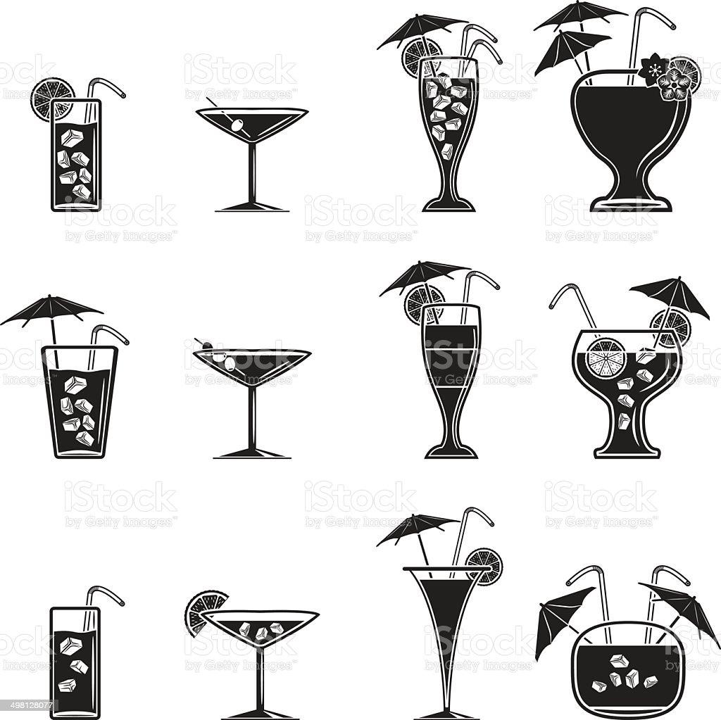 Cocktail icons set vector art illustration