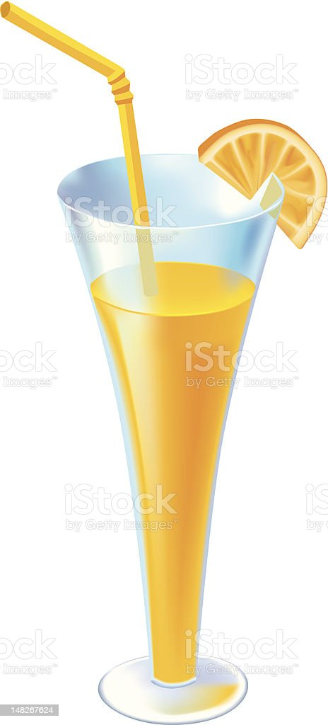 cocktail in glass with orange segment royalty-free stock vector art