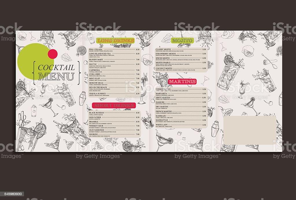cocktail menu full1 vector art illustration