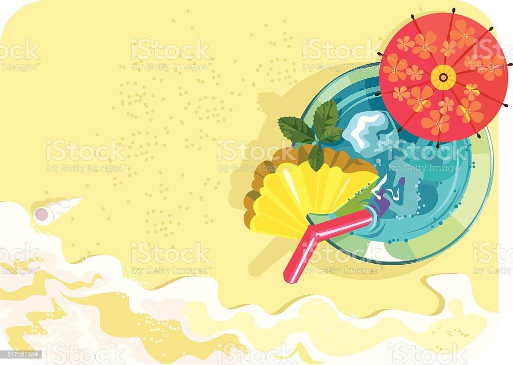 Cocktail on the Beach vector art illustration