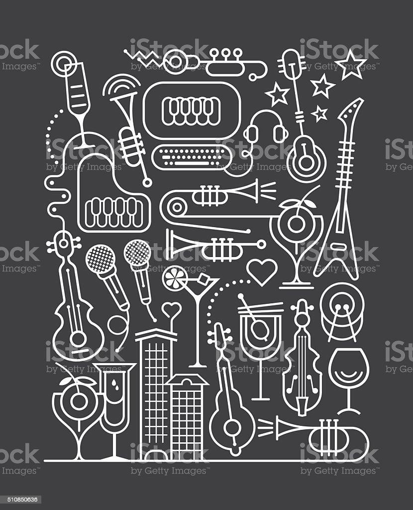 Cocktail Party Art Line vector art illustration