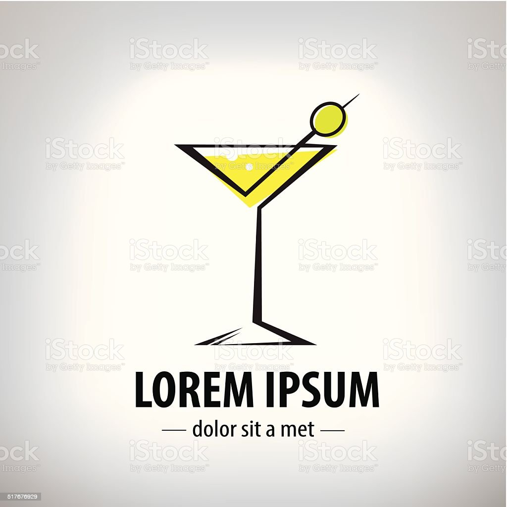 cocktail party glass design, logo vector art illustration