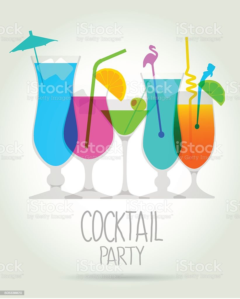 Cocktail Party InvitePrint vector art illustration