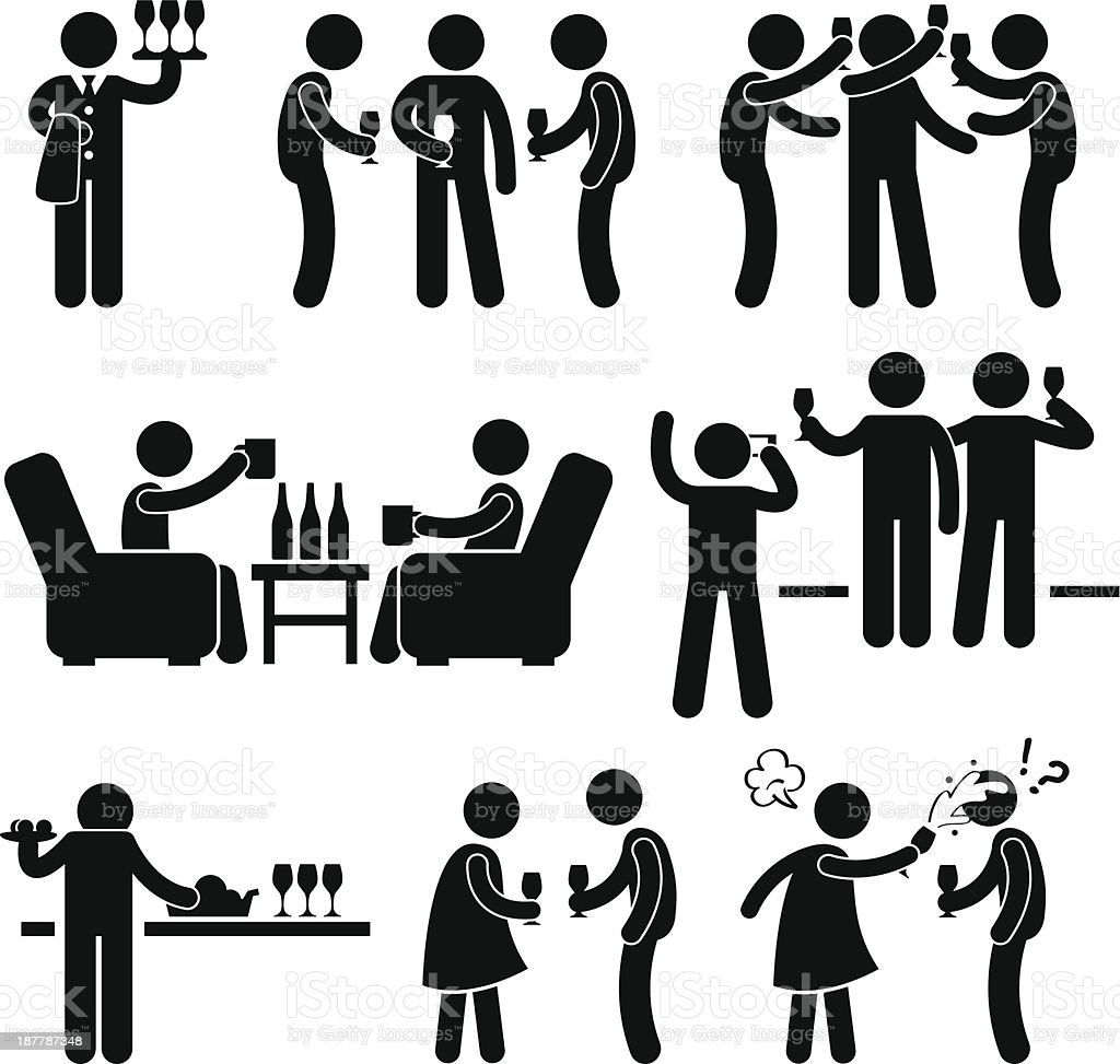 Cocktail Party Pictogram vector art illustration