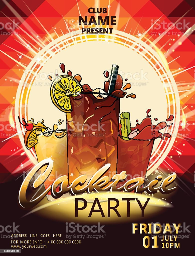 cocktail party poster1 vector art illustration